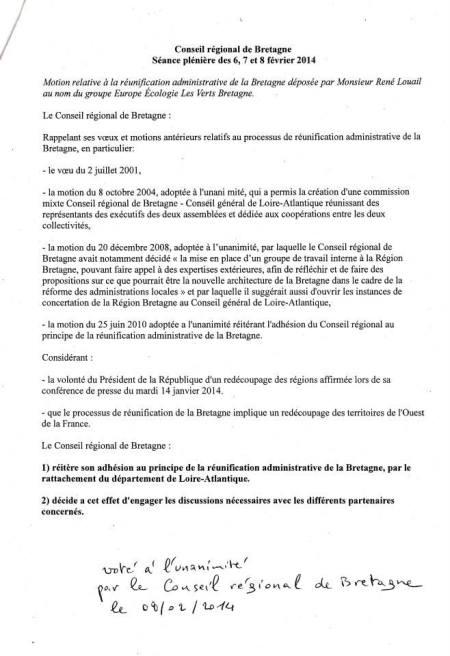 Voeu Reunification CRB4 - 08-02-2014-